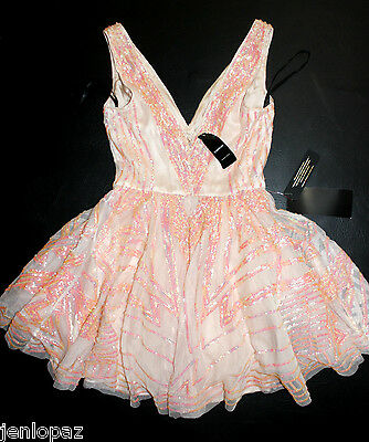 NWT Bebe coral pink sequin double v neck flare sequins mesh top dress S Small 4 4