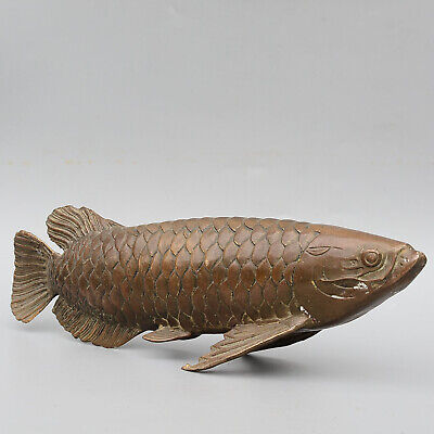 Collectable China Old Bronze Hand-Carved Moral Bring Luck Gold Arowana Statue 6