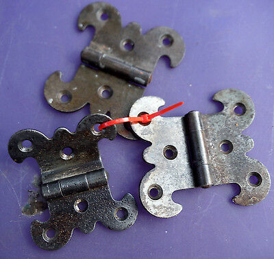"3 Antique Gothic Rustic Hinges for Repurpose projects - 2 7/8"" or 2 3/8"" wide"