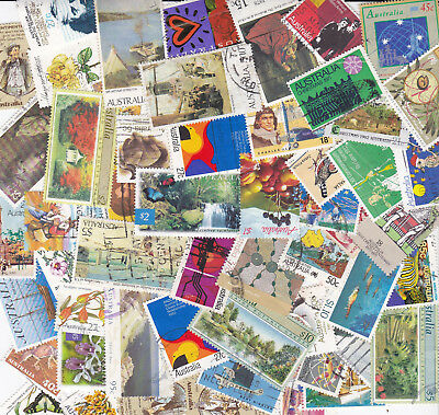 100 Australia Stamps All Different Used Bulk Collection Lot Off Paper Free Post 10