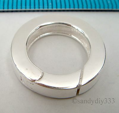 1x BRIGHT STERLING SILVER PLAIN ROUND SPRING LOBSTER CLASP BEAD 17.5mm #2369 2