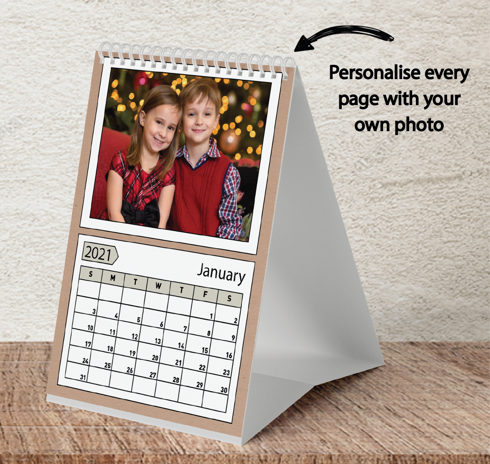 Personalised 12 Month Wall//Desk Calendar Family Christmas Gift Photos A5 A4 A3