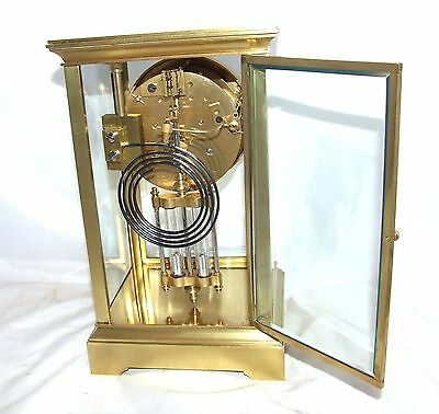 Antique French Four Glass Brass Striking Bracket Mantel Clock CLEANED & SERVICED 9