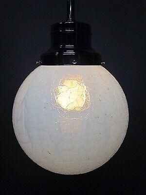 """Vintage Antique Art Deco Chrome Pendant Light Opal Crackle 12"""" Shade 41"""" Long A 3"""