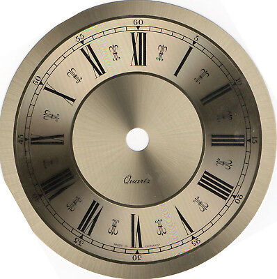 Clock dial, brushed gold and polished rings, large, OD 129mm