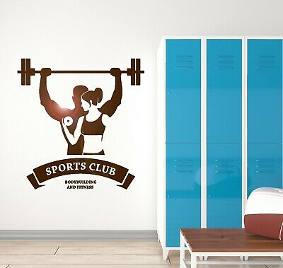 Vinyl Wall Decal Home Gym Couple Fitness Bodybuilding Sports Stickers ig5574
