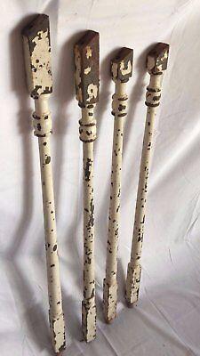 4 Antique Turned Cast Iron Spindle Baluster Garden Table Legs Old Vtg 70-17J 2