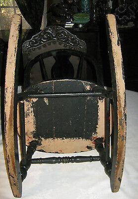 Antique Primitive Child Rocker Chair Windsor Boy Girl Country Furniture Tole Art 5