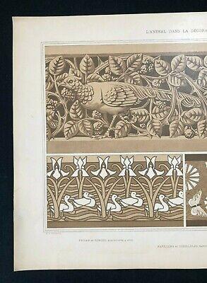 Antique 1897 French Art Nouveau Print, L'Animal Dans La Decoration, Plate 20 (2) 3
