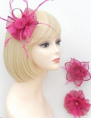 Fuchsia Pink Fascinator Brooch Clip Hair Feather Flower Wedding Ladies Day Races 3