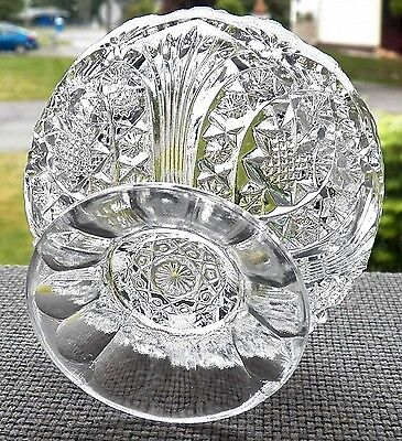 Fine Decorative Antique Clear Glass & A Well Designed Footed Holder Sawtooth Rim 3