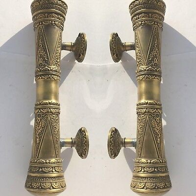 """2 engraved solid pure brass door old aged style heavy house PULL handle 10"""" B 3"""