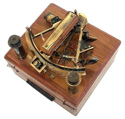 """8"""" Henry Barrow Nautical Sextant Antique Brass Ship Astrolabe With 2 Telescope 7"""