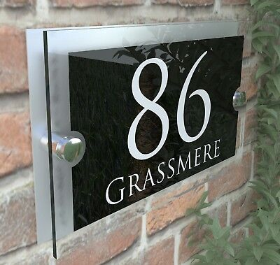 Contemporary House Sign Plaques Door Number 1 - 9999 Personalised Name Plate 4