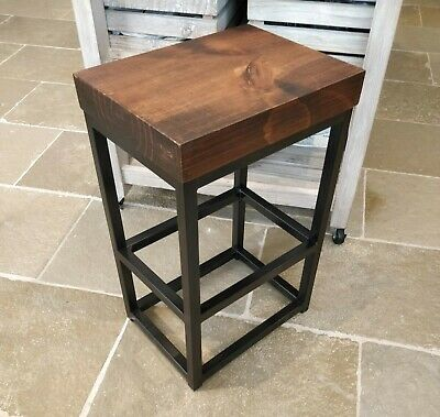 Industrial Metal Black Bar Stool Chunky Rectangle Wooden Top Kitchen Side Table 3