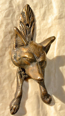 small FOX head old heavy front Door Knocker SOLID BRASS vintage antique style 4