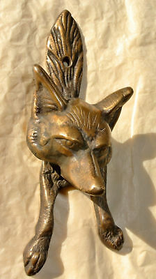 small FOX head old heavy front Door Knocker SOLID BRASS vintage antique style B 4
