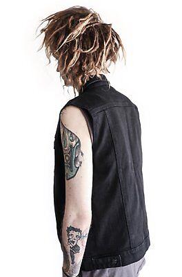 dd15e5c3f KILL CITY BLACK Denim Rocker Fit Trucker Biker Moto Punk Rock Jeans Jacket  Vest