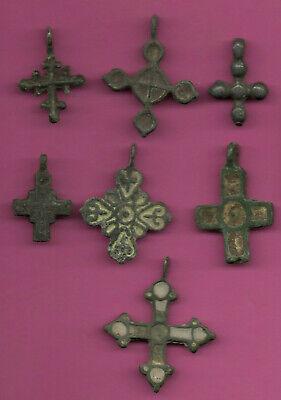 Lot of 7 Russia Bronze Ortodox Cross ca 1050 11-12th Viking Byzantine 679 2