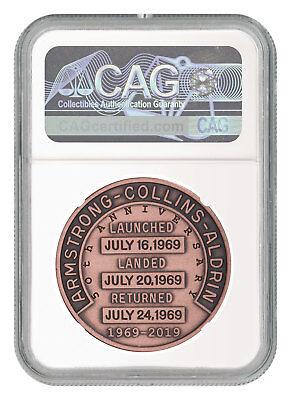 2019 Apollo 11 50th Robbins Medal 1 oz Copper Antiqued Medal NGC MS70 SKU55120 2