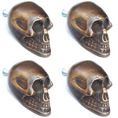 "4 small Skull hardware cabinet Drawer 2cm Gothic Finger Pull Solid Brass 1.3/4""B 3"