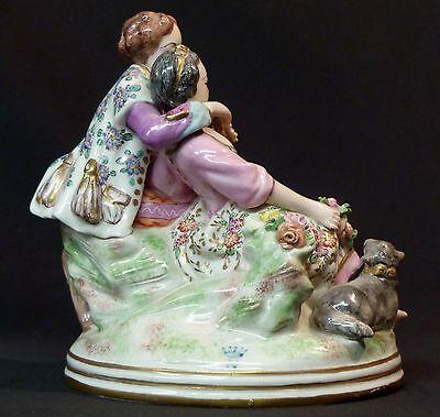 19èm rare groupe Porcelaine fine capodimonté 1.2kg22cm romantique Meissen saxe