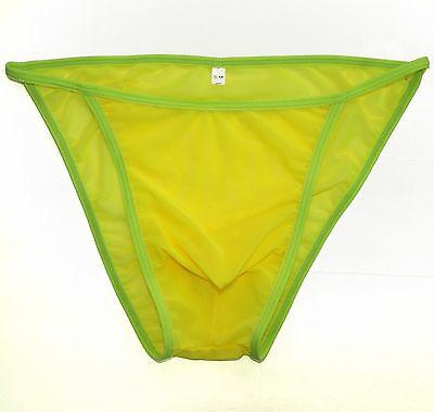 455bac29e05d ... K3420 Men's String Bikini Contoured Pouch Silky Shiny Semi C-thru Mesh 7