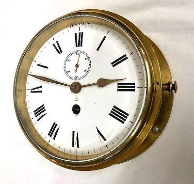 Antique Ships Marine Bulkhead Bulk Head Brass Cased Ships Clock ENAMEL DIAL 2