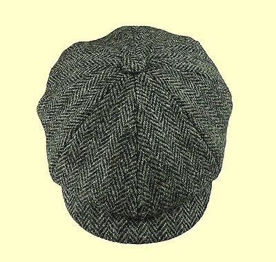 Failsworth Grey Harris Tweed Button Newsboy Baker Boy Cap Peaky Shelby Cap