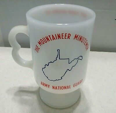 Milk Glass (vintage) Coffee cup West Virginia , Army National Guard logo, USA 3
