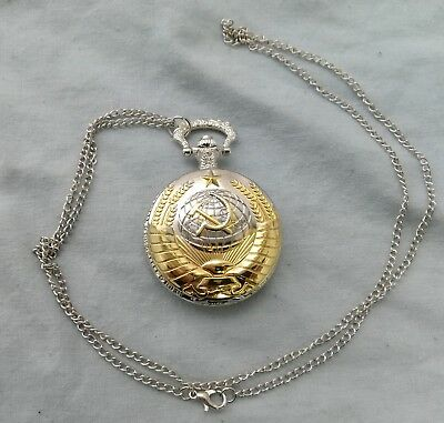 Soviet Pocket Watch Necklace Mens Clock Union USSR Moscow Vintage Putin Russia 4
