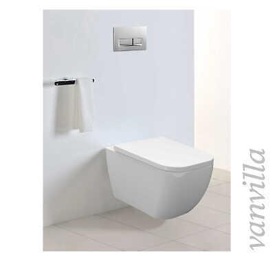 Soft Close Absenkautomatik vanvilla Design Wand Hänge WC Toilette 837 inkl
