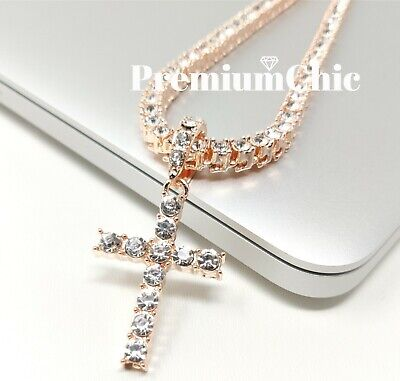 ICED Cross Pendant & Tennis Chain Choker Gold Silver Plated Mens HipHop Necklace 5