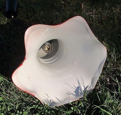 Cased Glass Opaline Chandelier Pendant Light Mushroom shape Red Funky 8