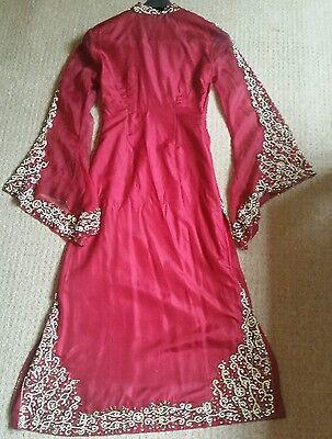 Deep red / Burgundy Silk  Heavy Jewelled Diamante work long kameez/pajama suit 7