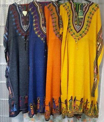 New Womens Long Dashiki Dress Kaftan African Tribal Hippie Long Dress 12 to 24
