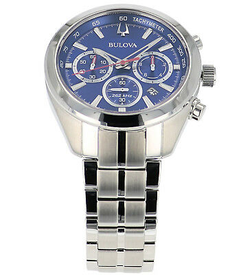 Bulova Men's 96B285 Quartz Chronograph Blue Dial Silver-Tone 44.5mm Watch 3