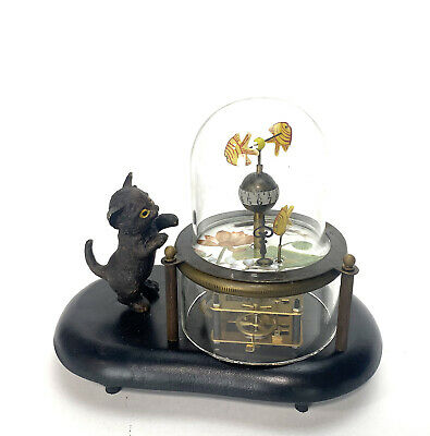 Animated Kitten Cat Catching Fish in Glass Case Novelty Clock 3
