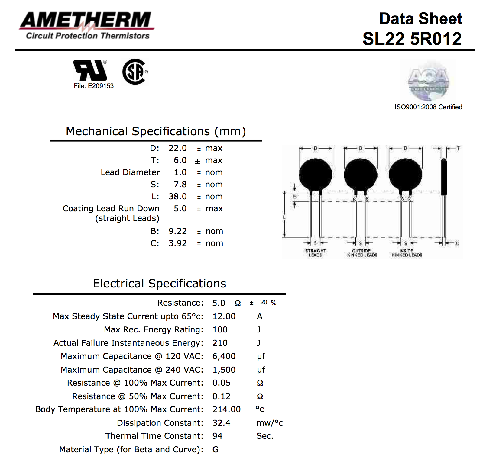 Ametherm Sl22 5r012 Current Limit Thermistor Icl 5 Ohm 15 12a Circuit 1 Of 3free Shipping 22mm