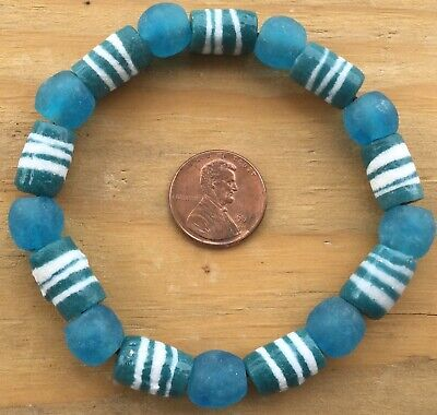 Handmade Ghana Fancy Teal Green multi bracelet-African Trade Beads-Ghana 3
