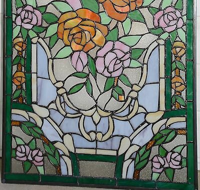 "20"" x 34""Rose Flower Tiffany Style stained glass window panel 11"