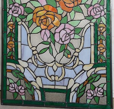 """20"""" x 34""""Rose Flower Tiffany Style stained glass window panel 11"""