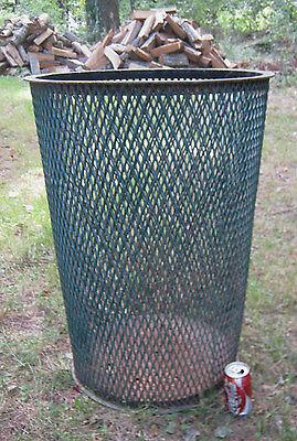 Antique Industrial City Park Steel Mesh Cast Iron Trash Can Waste Basket Hamper 7