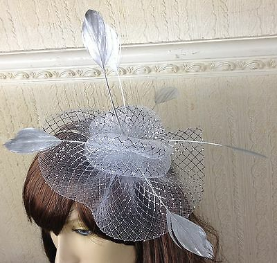 silver netting feather hair headband fascinator millinery wedding hat ascot race 2