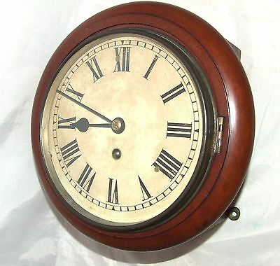 Antique Style Small 8 inch Dial CHAIN Fusee Mahogany Wall School Clock c1920 2