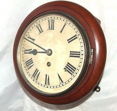 # Antique  rare 8 inch Dial CHAIN Fusee Mahogany Wall School Clock c1900 2