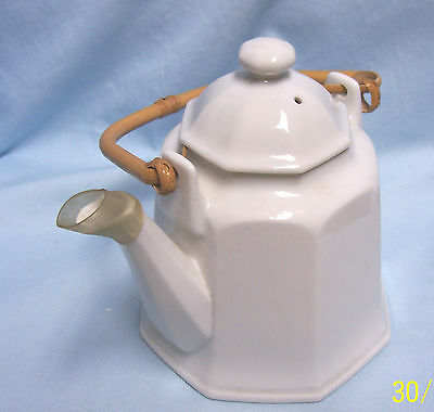 """Vintage 8 Sided Teapot with Lid & Bamboo Handle Ceramic 7"""" Tall  Base 5 1/2"""" W"""