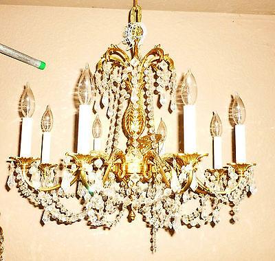 "vintage chandelier brass and crystal tassels 20"" x 20"" 4"
