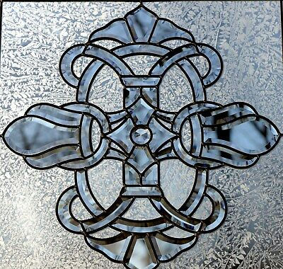 """Tiffany Style stained glass Clear Beveled window panel 24"""" x 24"""""""