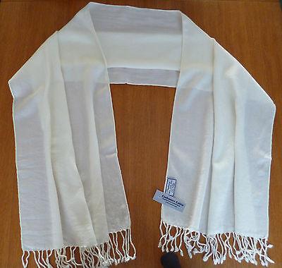 Ladies cream ivory wrap stole shawl pashmina scarf fine lambswool womens NEW